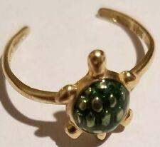 *10k solid gold Jcm green enamel tortoise ring*
