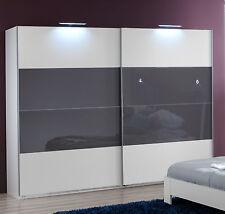 SlumberHaus German Eleganz White & Grey Glass 225cm Sliding Door Wardrobe