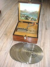 TOP ANTIQUE VICTORIAN KALLIOPE DISCC MUSIC BOX WITH DISCS REGINA UHR VINTAGE