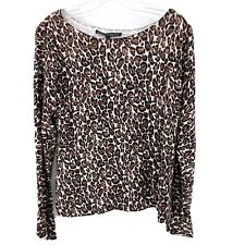 White House Black Market WHBM Sweater Bell Sleeve L Leopard NEW