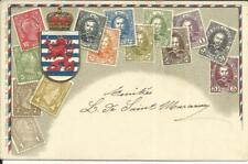 Luxembourg MultiColor Embossed STAMP postcard Sc#74(single frank)1/9/05