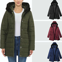 Womens Down Jacket Puffer Hooded Parka Coat Winter Lightweight Poly Plush