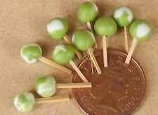 Échelle 1:12 10 Round lime LOLLIPOPS maison de poupées miniature Sweet Shop Accessoire