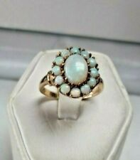 Gold ESTATE SALE Ring 10K OPAL FIERY Cluster Vintage Ring Sz.6.5 CUSTOM DESIGN!