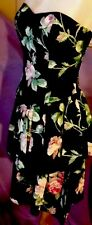 Womens Vintage Pink Roses On Black Evening  Ballroom Dance Dress + Bustle Bow 10