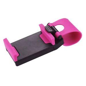 Universal Car Steering Wheel Clip Mount Holder Socket Mobile Phone iPhone Pink