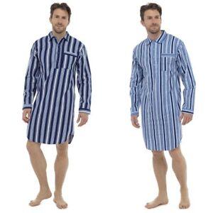 Mens Nightshirt Traditional Striped Long Sleeve Nightshirt Brushed Cotton Warm