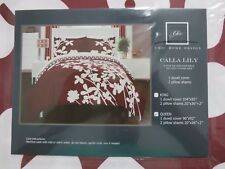 Chic Home, Calla Lily, Reversible Duvet Cover, 3pc Set, Queen, Red, NWT, FS