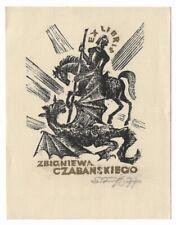 JOZEF SZUSZKIEWICZ: Exlibris für Zbigniewa Czabanskiego, Hl. Georg, Drache