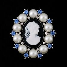 Faux Pearls And Blue Rhinestones Vintage Victorian Style Cameo Brooch