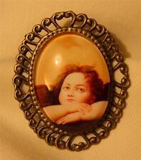 New listing Serene Swirled Rim Dreamin' of Love Cherub Angel Cameo Brooch Pin