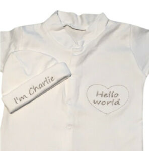Personalised Embroidered Baby Hat Sleepsuit Unisex Baby Shower New Baby Gift Set