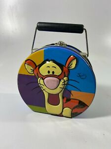 Vintage Disney Winnie The Pooh Tigger Metal Tin Round Blue Lunch Box  3D Tote