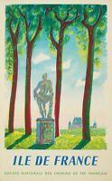 Affiche Originale - M.Saint-Saëns - Île de France - Paris - Versailles - 1952
