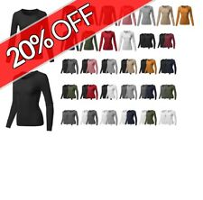 FashionOutfit Women's Casual Solid Basic Crew Neck Long Sleeves Thermal Top