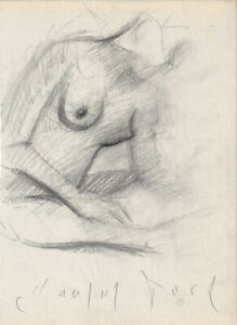 Sketching FEMALE NUDE Figure 9x12 Realistic Life Charcoal Drawing Naked Woman