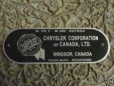 Chrysler CANADA Firewall data plate screen printed aluminum 1940s - 1950s