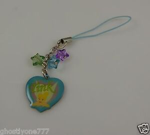 blues tinkerbell tinker bell Cell phone charm or purse Disney star beads