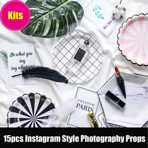 15Pcs Food Dessert Cosmetics Props Background For Photography Instagram Style UK