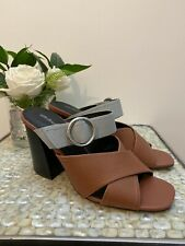Autograph 6 39 M&S brown leather slip on mules chunky heels square toe NEW