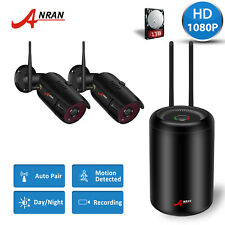 ANRAN 4CH 1920x1080P HD CCTV Video NVR Waterproof Home Wireless Camera System 1T