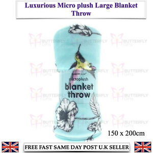 Large Humming Bird Micro Plush Super Soft Warm Throw Over Blanket 150 x 200cm