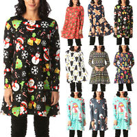 Plus Size Women Christmas Long Sleeve Mini Swing Dress Party Tunic Tops T-Shirts