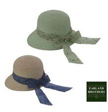 Ladies Summer Cloche Straw Hat Quality Adjustable Size Chiffon Scarf Trim