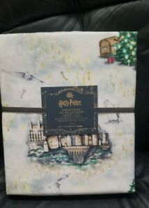 "Pottery Barn Teen Harry Potter ""Christmas at Hogwarts"" Cotton XL TWIN Sheet Set"