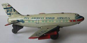 Vintage HAJI Japan Pan American World Airways Toy Friction Jet Plane