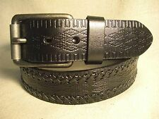 Non-Brand Men Black Genuine Leather Belt Sz 36 w/Embossed & Laced Leather Detail