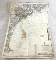 1945 Vintage Mappa Di Inizio Bay Dartmouth Devonshire Navigazione Vela Devon