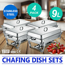 4 Pack of 9L Chafing Dishes Buffet Catering Party Pack W/Tray 9L Food Warmer