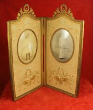 """Antique 13"""" French Double Picture Hinged Frame - Embroidery Details All Original"""