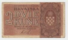 CROATIA BANKNOTES -  WWII NDH USTASE - 2 KUNE 1942 - 2 letters - RARRE !