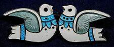 Vintage 2 Birds Pin Estate Margot de Taxco Sterling Enamel Handmade