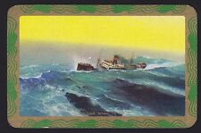 1 Single VINTAGE Swap/Playing Card EN SHIP at SEA 'ROLLING DOWN TO RIO RO-1-1-A