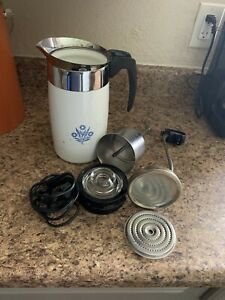 Vintage 1960's Electric Enamel 10 Cup Percolator Coffee Pot w/ Cord & Inserts