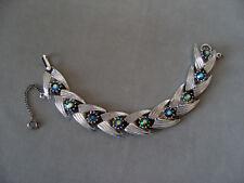 Hollywood 60er Jahre USA Armband Aurora Borealis-Silberfarbe-Sicherheitskette
