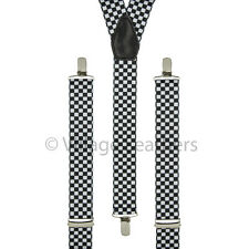 Chequered Trouser Braces Elastic Checkerboard Suspenders Handmade in England