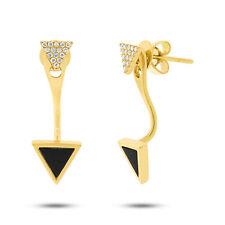 0.49ct 14K Yellow Gold Triangle Black Onyx Diamond Drop Earring Jacket Stud