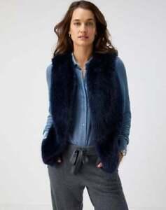 Pure Collection Faux Fur Gilet - Navy - Medium - UK 12-14 - RRP £130
