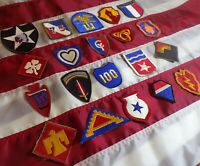 LOT OF 20 WWII DIFFERENT SHOULDER PATCHES IN GOOD CONDITION!!!
