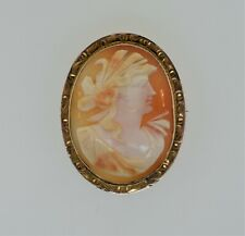 Oval Cameo Pendant Pin Brooch Antique 10k Yellow Gold Carved Shell