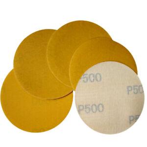 "75mm Yellow Sanding Discs 3"" Hook & Loop Polished Sandpaper Abrasive Grit 80-500"