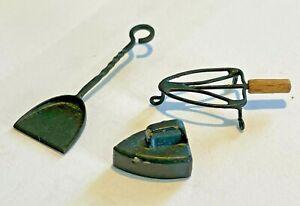 1:12 Scale Artisan Made Miniature Black Metal Fire Shovel, Flat Iron & Stand