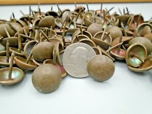 """130 SOLID BRASS PATINA TACKS 11/16"""" DOME TOP LEATHER RECLAIMED FURNITURE CRAFTS"""