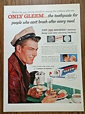 1956 Gleem Toothpaste Ad  Guy Eating at the Diner Counter