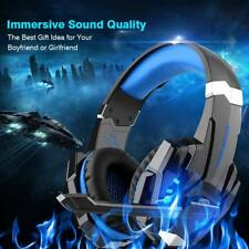 Gaming Headset LED Light Blue Bass Surround Pro Gamer Headphones Xbox Gift
