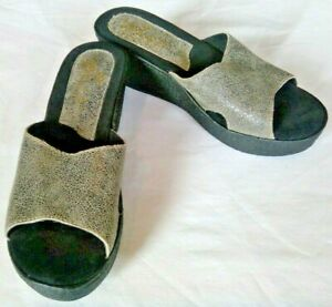 *SBICCA Wedge Wome's Sandals Sparkly Shimmery Silver Black 7.5 M NEW NWOB